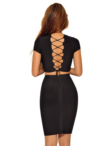 Nora Lace Up Detail Two Piece Bandage Dress