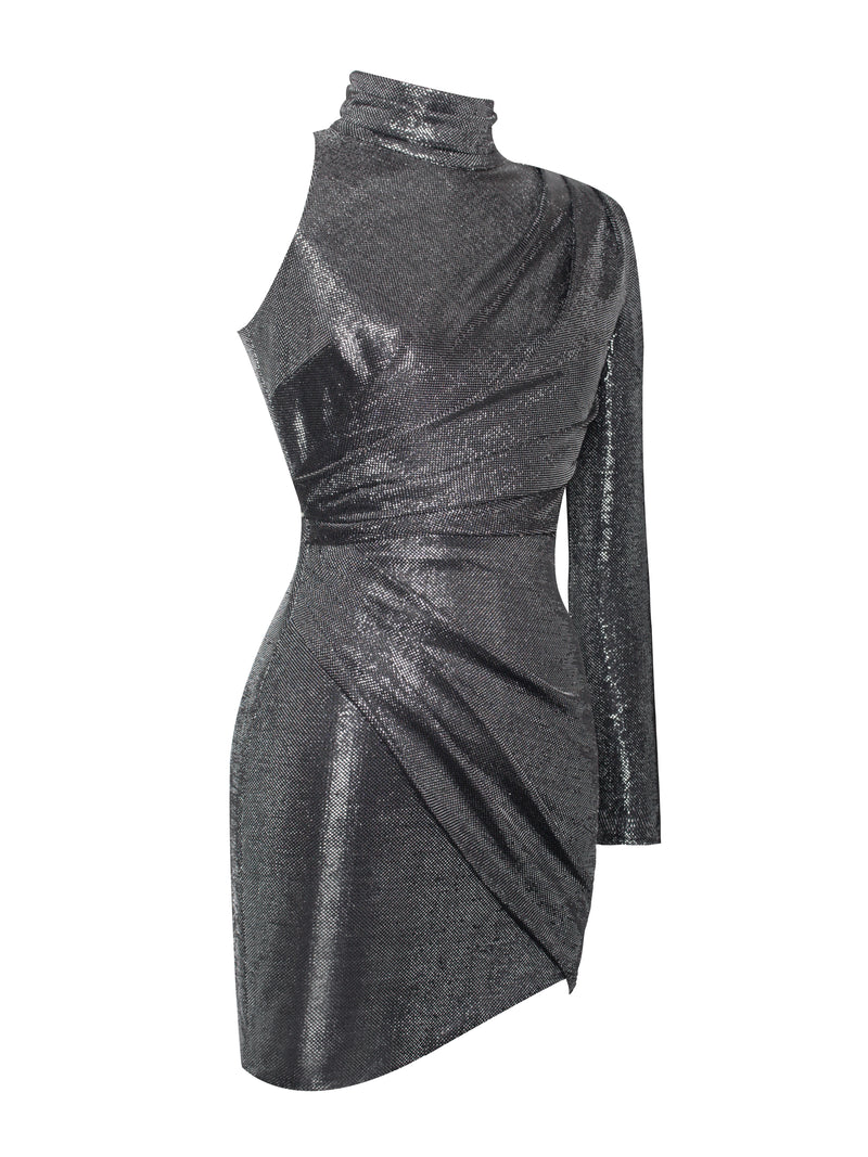 Tavia Silver Metallic One Sleeve Dress