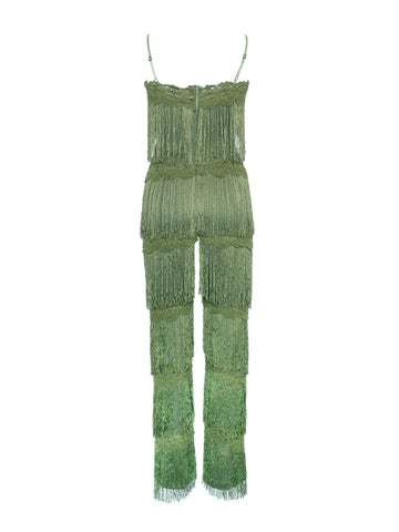 Velma Forest Green Fringe Jumpsuit