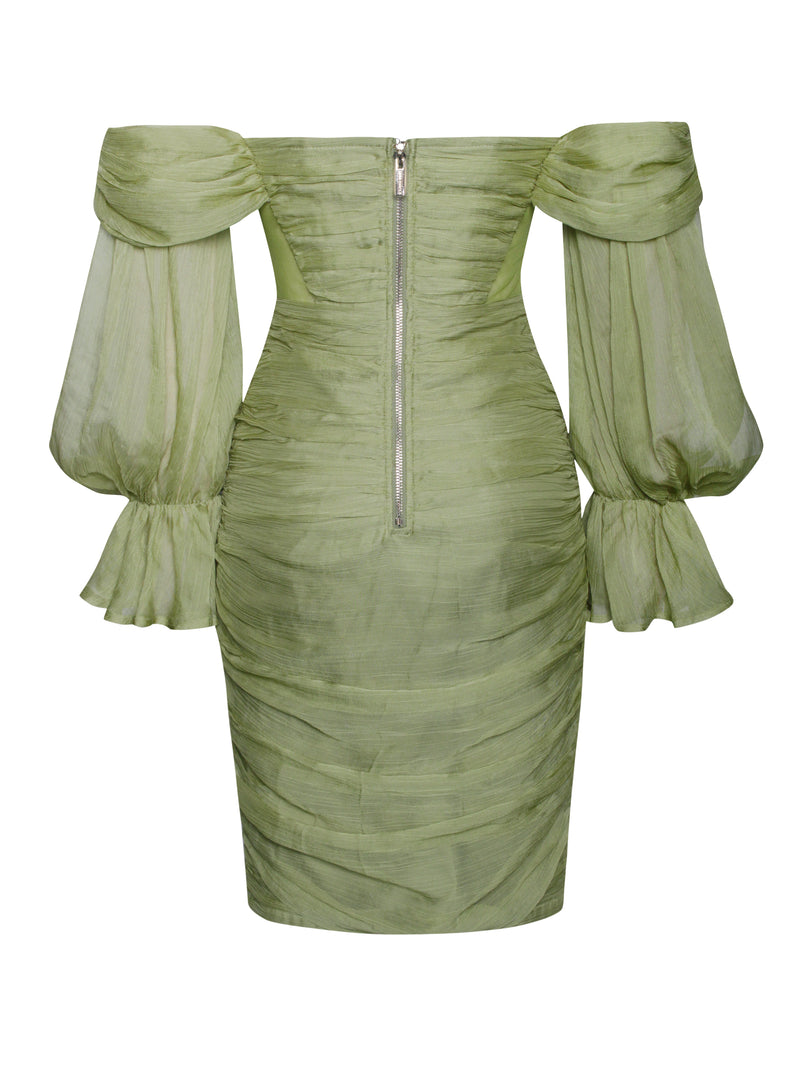 Sirene Olive Silk Pleated Off Shoulder Balloon Sleeves Dress