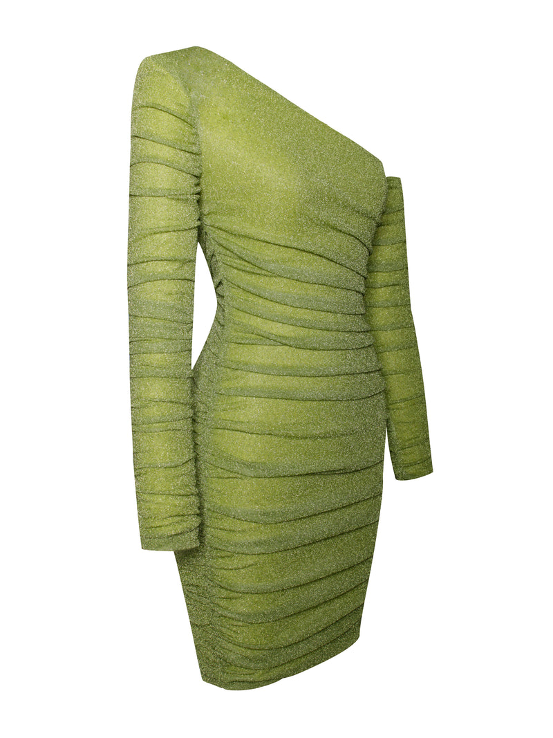 Jacinta Olive Glitter Ruched Dress