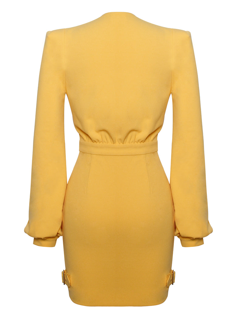 Meant To Be Deep V Long Sleeve Stretch Crepe Dress - Miss Circle