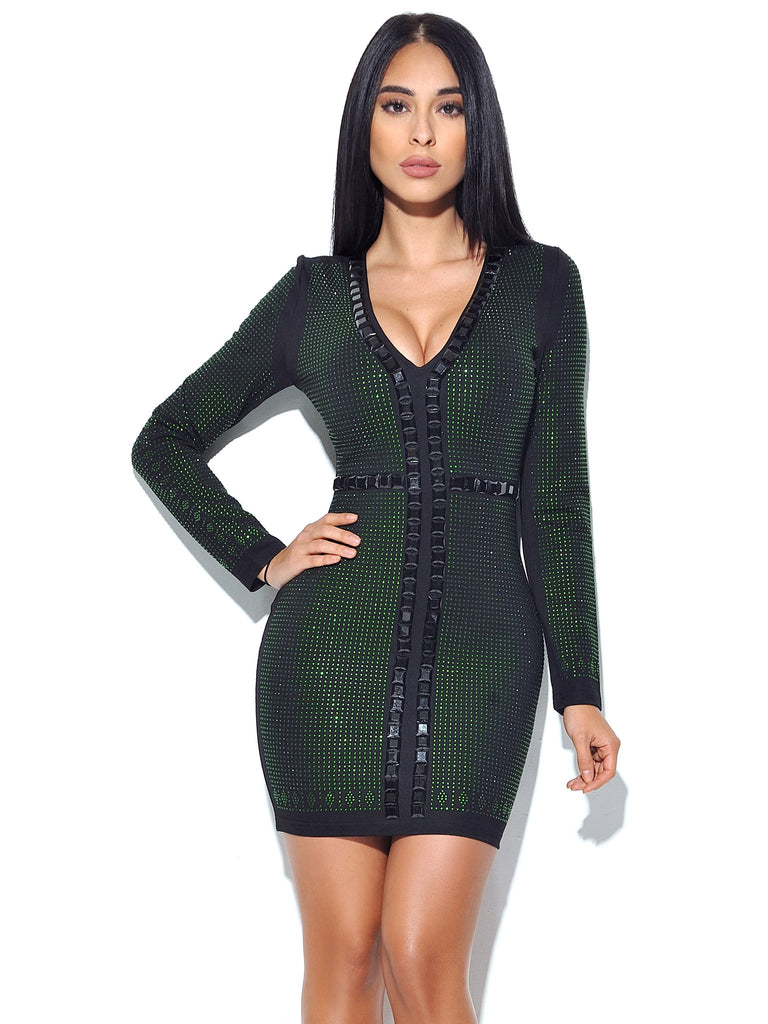 Zandra Studded Stretch Crepe Long Sleeve Dress
