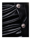 Ulla Silver Buttoned Thigh Slit Black Leather High Waisted Skirt
