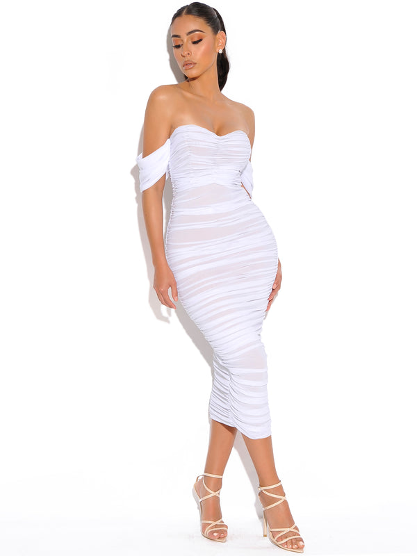 Quenby White Off Shoulder Mesh Maxi Dress