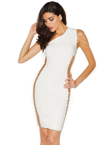 Stella White Cutout Detail Bandage Dress