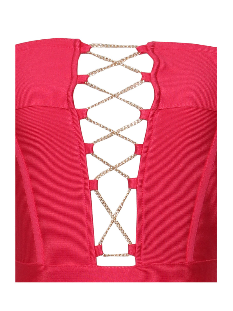 Rosanna Gold Chain Detail Ruby Pink Off Shoulder Bandage Dress - Miss Circle