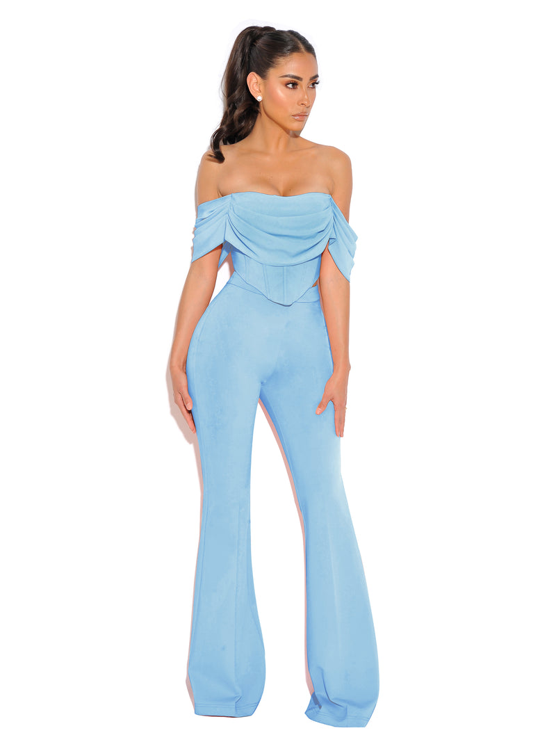 Taya Blue Crepe Flared Trousers