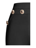Fiona Gold Button Detail High Waisted Black Flared Stretch Crepe Pants
