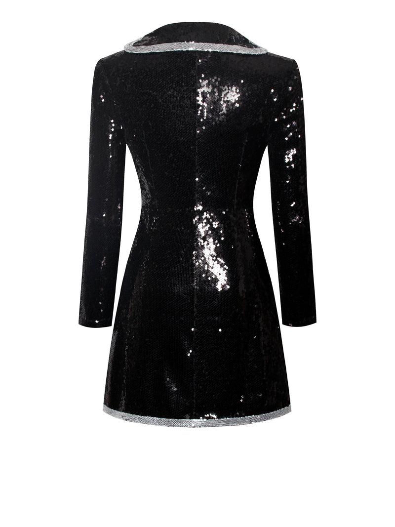Piece Of Me Black Sequin Blazer Dress - Miss Circle