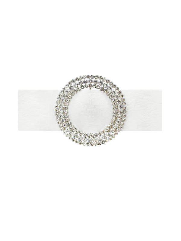 Miss Circle Signature White Leather Waist Belt with Circle Crystal - Miss Circle
