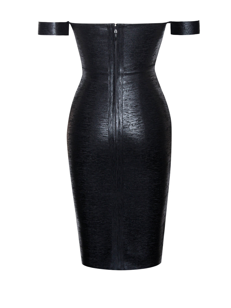 Irreplaceable Off Shoulder Black Metallic Bandage Dress - Miss Circle