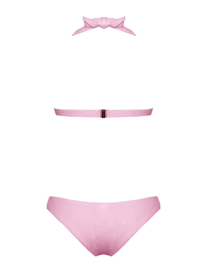 Puka Pink Lace Up and Halter Neck Bikini Set - Miss Circle