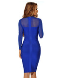 Miriam Blue Sheer Long Sleeve Bandage Dress