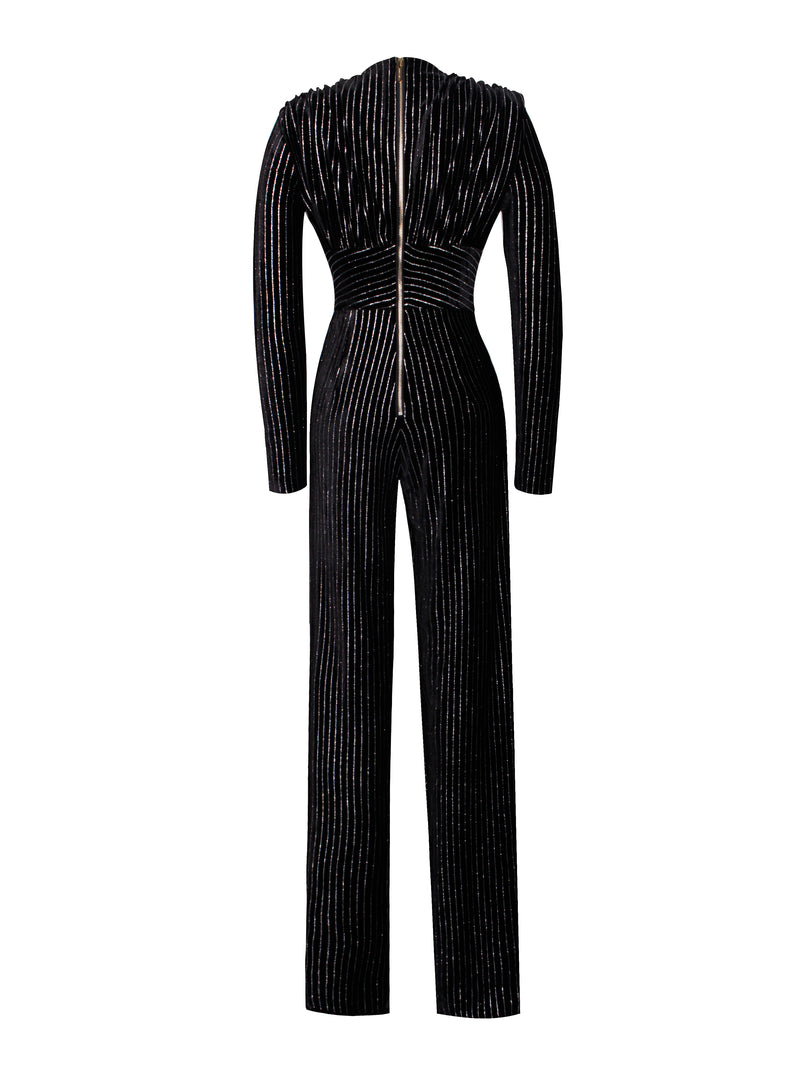 Eden Black Stripe Long Sleeve Jumpsuit
