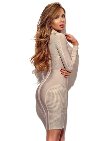 Gabby Beige Sheer Detail Long Sleeve Bandage Dress