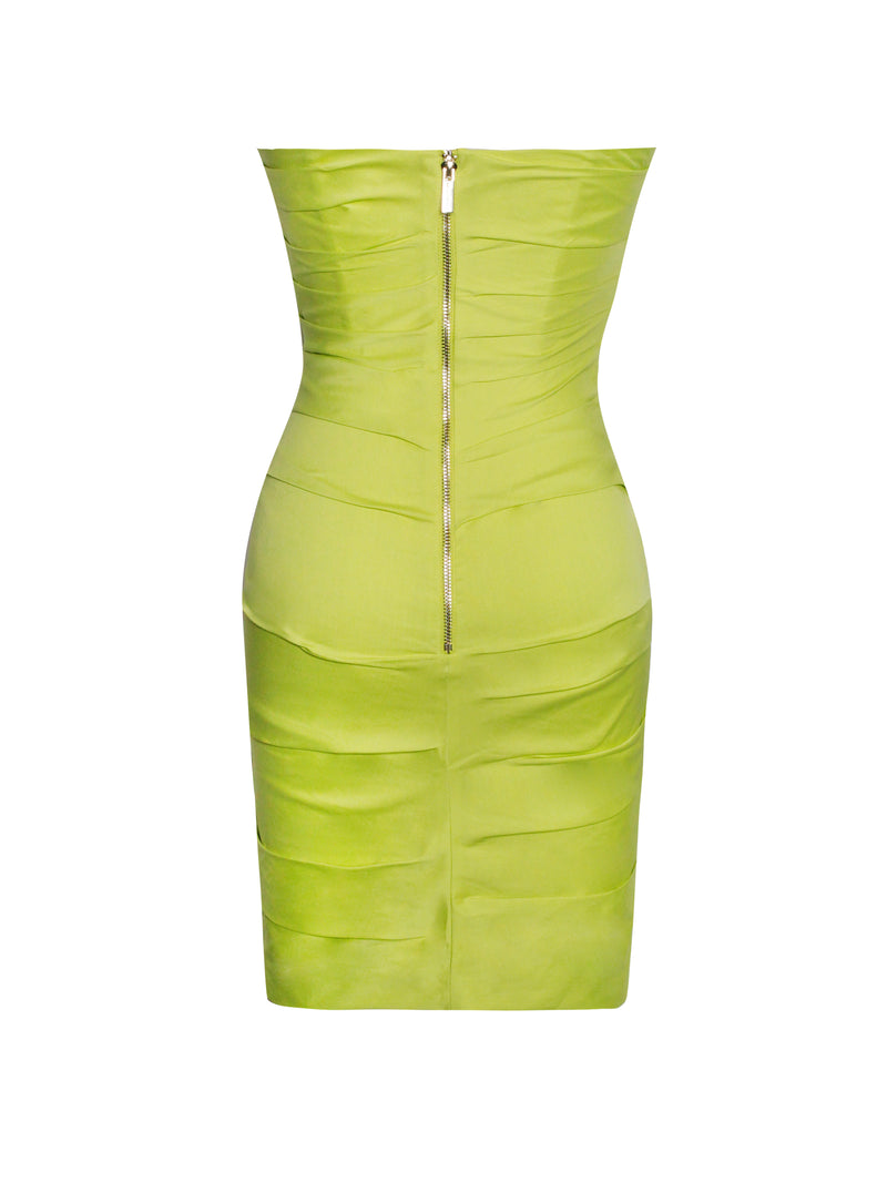 Estella Lime Corset Ruched Dress