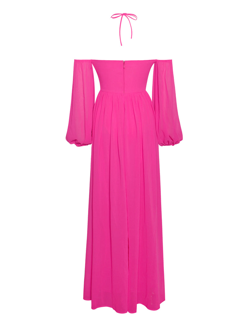 Once An Angel Hot Pink High Slit Chiffon Maxi Dress - Miss Circle