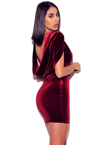 Indiana Velvet Burgundy Velvet Low V Cut Open Back Dress