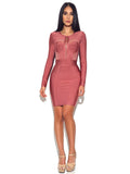 Xenia Coral Pink Sheer Cut Out Long Sleeve Bandage Dress