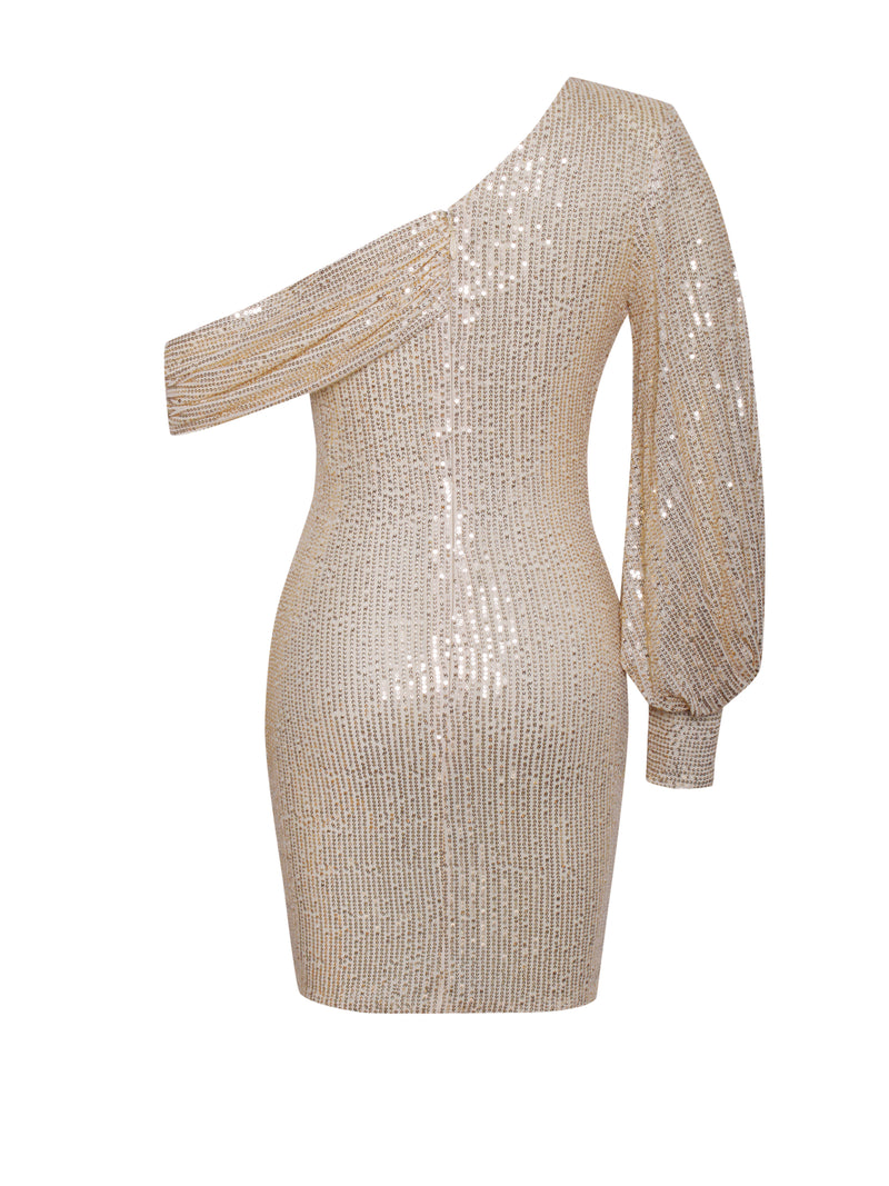 Katherina Beige One Sleeve Off Shoulder Sequin Dress