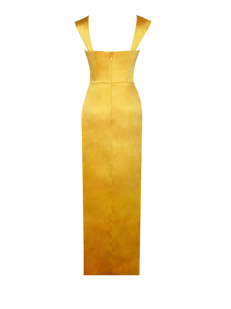 Zarah Yellow High Slit Corset Satin Dress