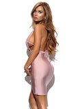 Lucille Silk Pink Halter Top Dress
