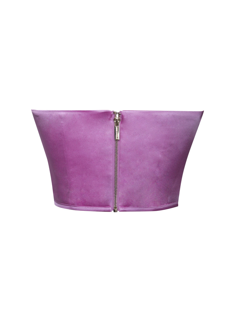Millie Purple Ruched Satin Corset Top