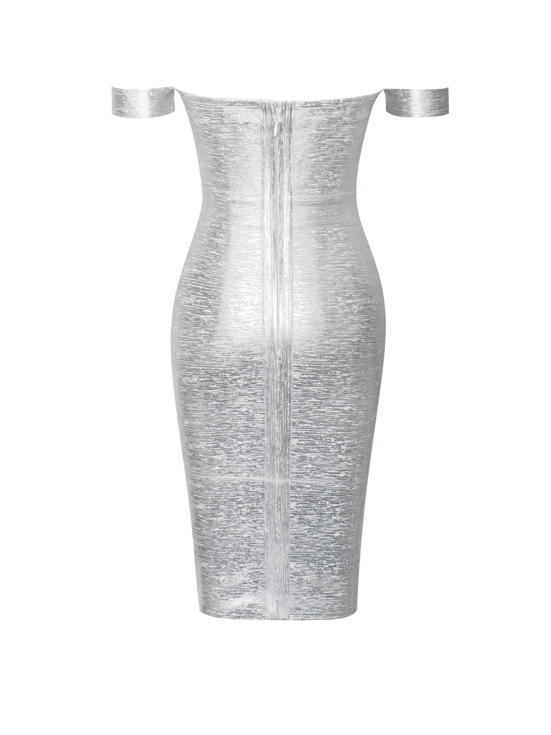 Irreplaceable Off Shoulder Silver Metallic Bandage Dress - Miss Circle