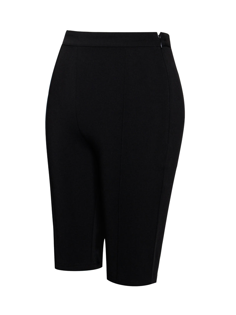 I Wish Black Stretch Crepe Biker Shorts - Miss Circle