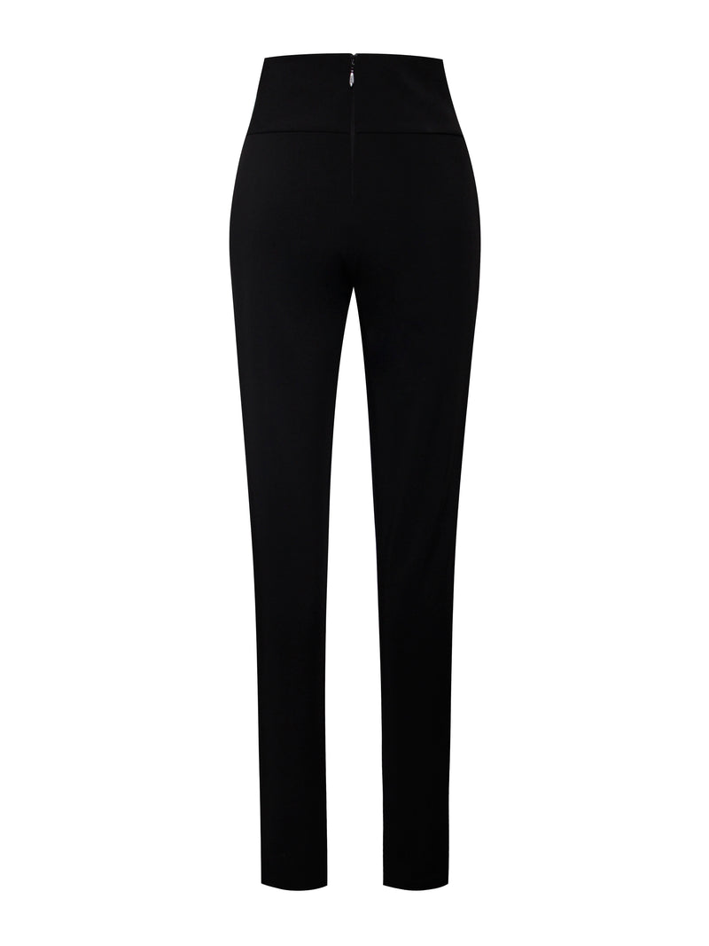 Zoey Black Skinny Fit Crepe Trousers