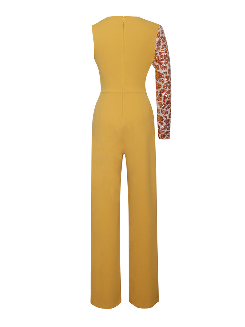 Rheanna Sequined One Sleeve Yellow Jumpsuit