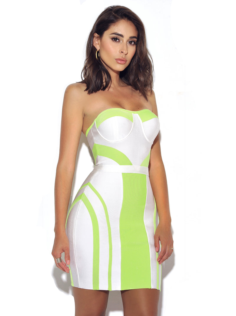 Pure Heart Strapless Bustier White and Neon Green Bandage Dress - Miss Circle