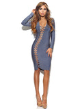 Assunta Asymmetric Lace Up Long Sleeve Bandage Dress