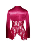 Wynnie Satin Stretch Red Lace Blazer