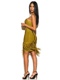 Dindi Olive Green Studded Fringe Detail Bandage Dress
