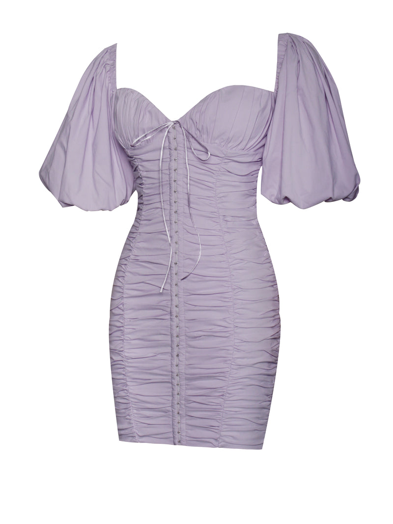 Halo Lavender Puff Sleeve Ruched Corset Lace Up Dress