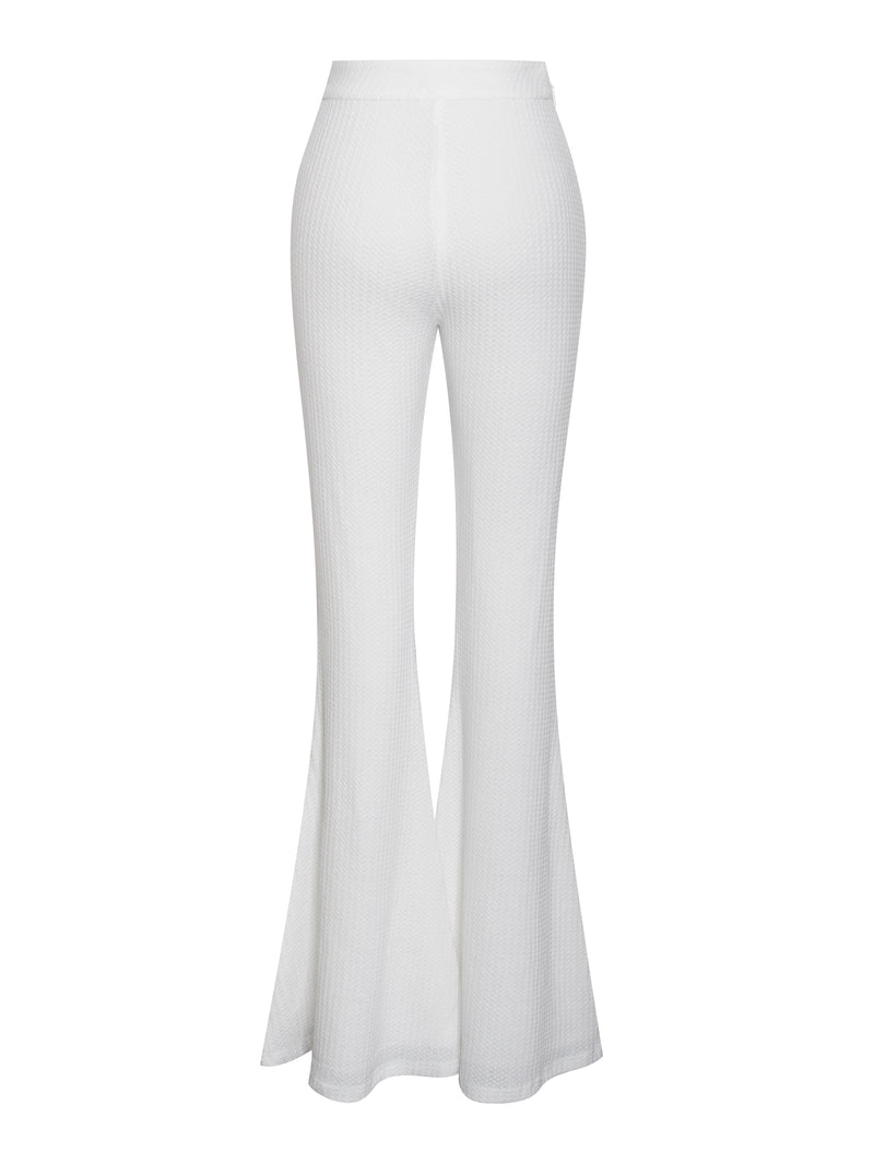 BBC Be Together White Stretch Knit Flare Pants