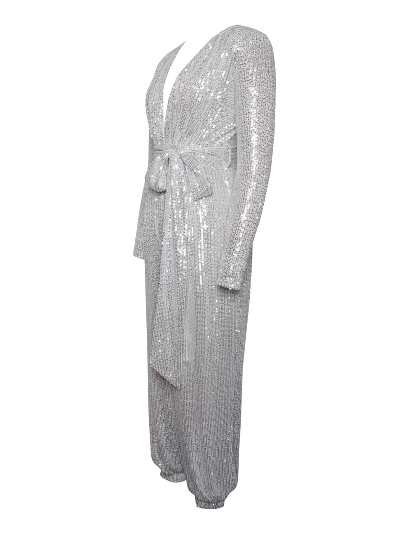 Tasha Silver Sequin Jumpsuit with Waist Tie