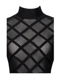 Mikaela Lattice Black Sheer Long Sleeve Two Piece Bandage Dress