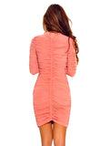 Clarita Textured Long Sleeve Stretch Mesh Dress