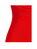 Pyria Red Fringe Off Shoulder Bandage Dress