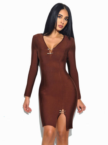 Kingsley Pin Detail V Neckline Long Sleeve Bandage Dress