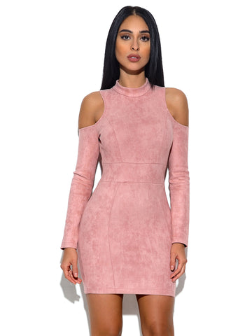 Moira Shoulder Cut Out Suede Bodycon Dress