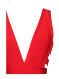 Minerva Red Cutout Detail V Neck Bandage Dress