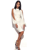 Valentina White Cut Out Sleeve Stretch Crepe Dress