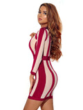 Tilda Vertical Stripe Cutout Long Sleeve Bandage Dress