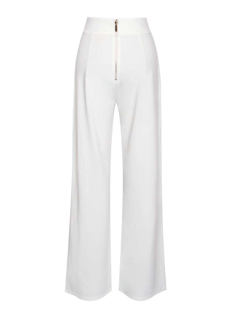 Never Enough White Stretch Crepe Wide Leg Trousers - Miss Circle
