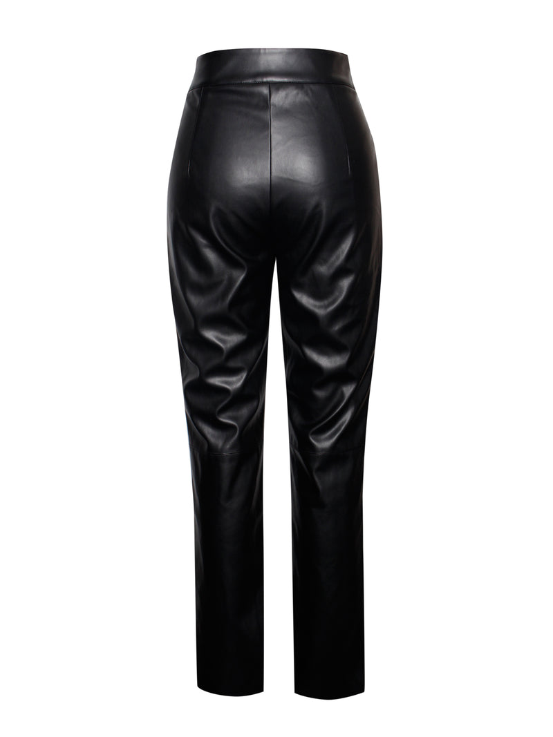 Yara Black Vegan Leather Pants
