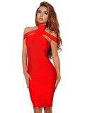 Keaton Red Triangle-Cutouts Bandage Dress